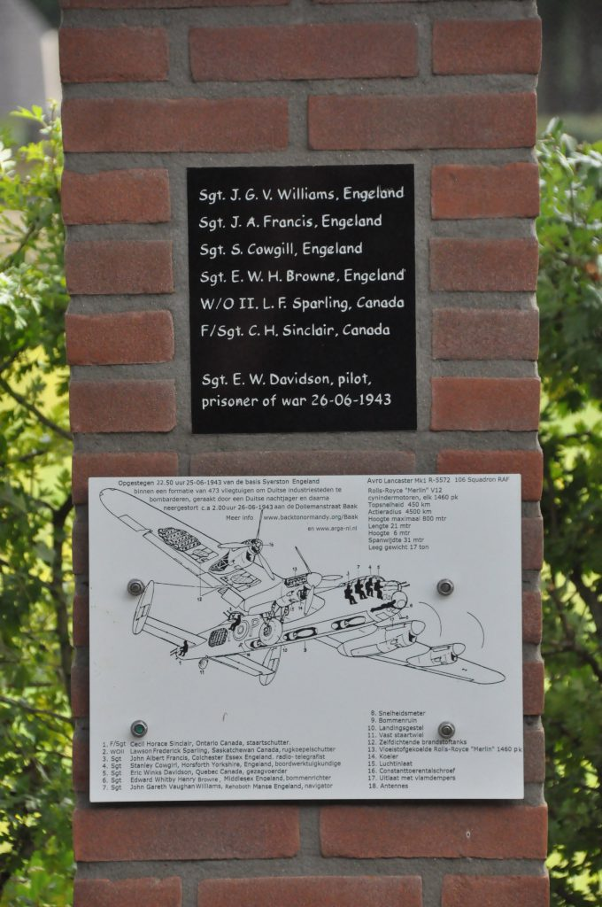 Herdenkingsmonument neergestorte Lancaster 26 juni 1943